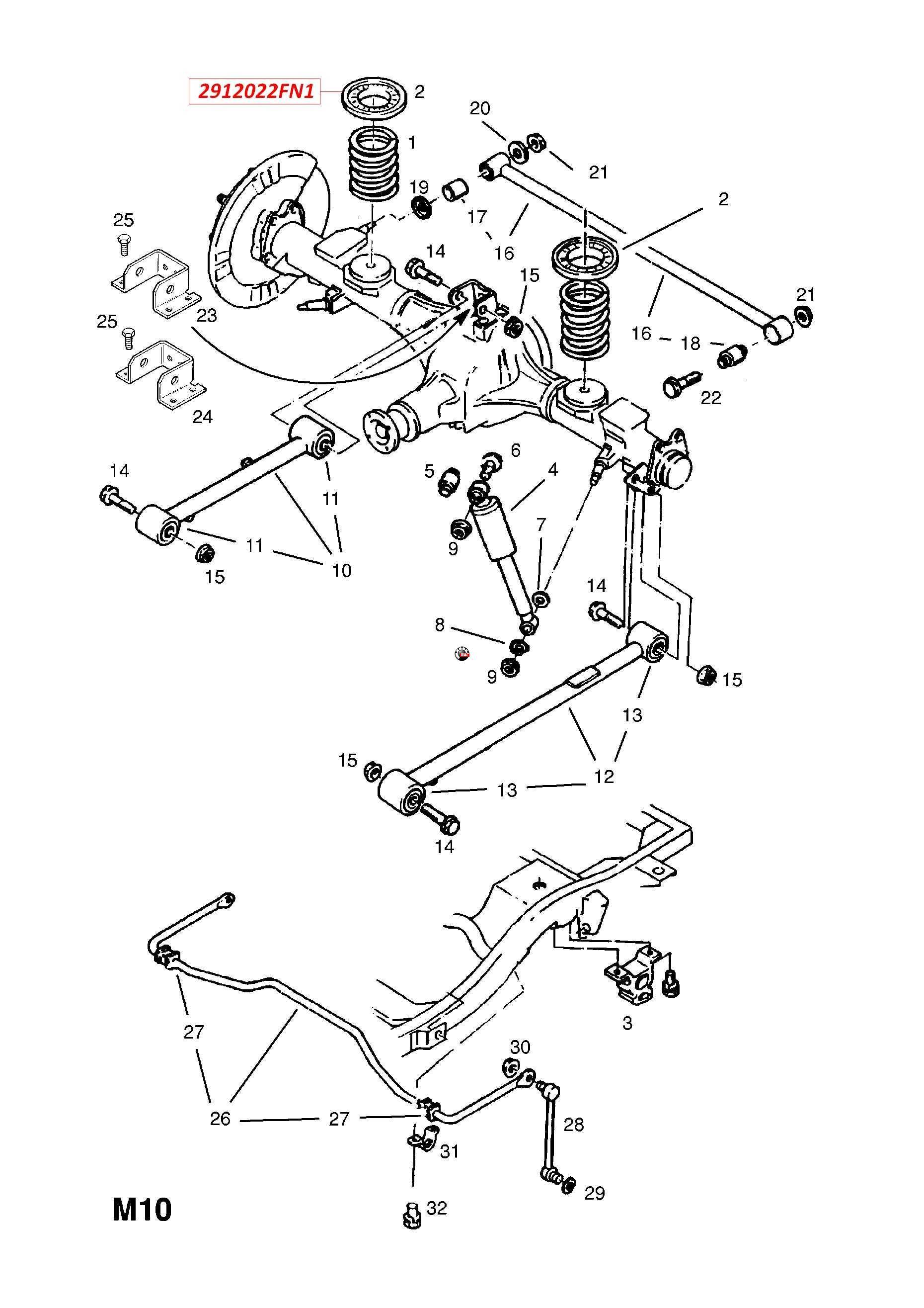 Landwind X6 (Лендвинд Х6) Подушка пружины задней подвески 2912022FN1